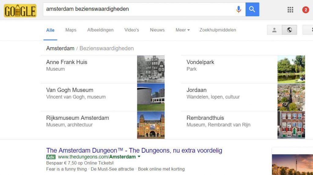 SERP voorbeeld Google