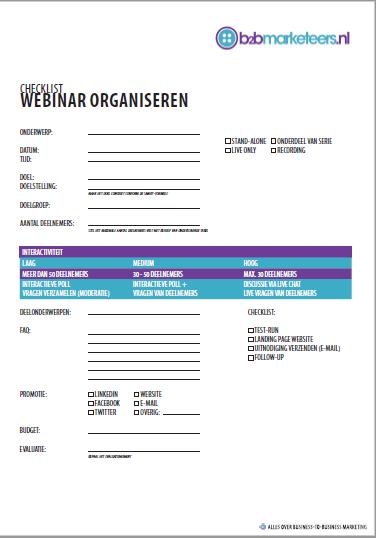 checklist webinar organiseren b2b